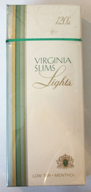 Virginia Slims Lights 120s Menthol - Vintage American Cigarette Pack